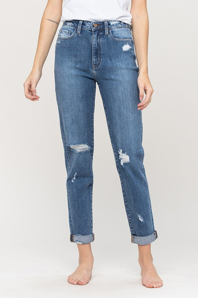 Flying Monkey - Distressed Cuffed Mom Jean - Moon Legend