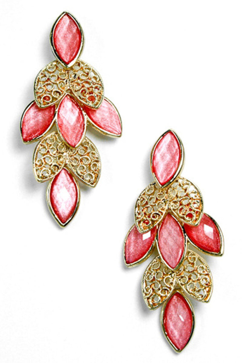 Acrylic Metal Filigree Leaf Cluster Earring-Peach/Coral