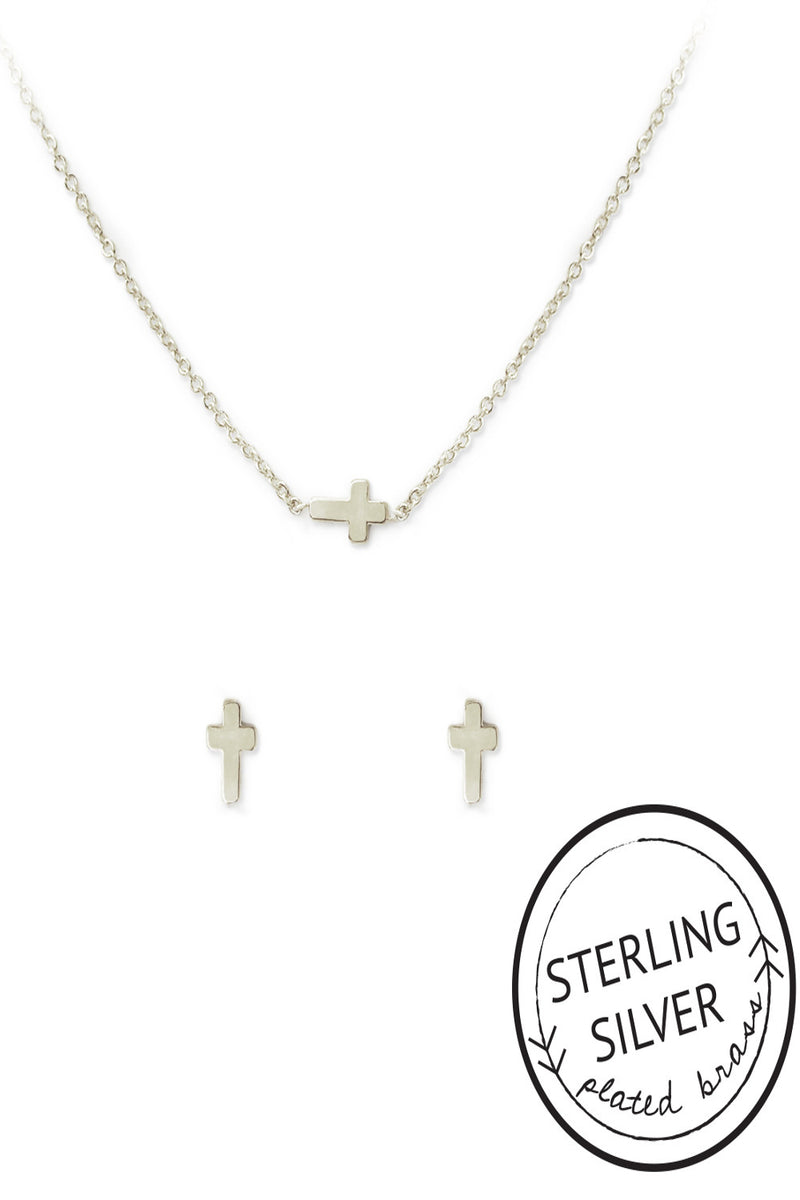 Kitsch-Cross Charm Earring And Necklace Set-Silver