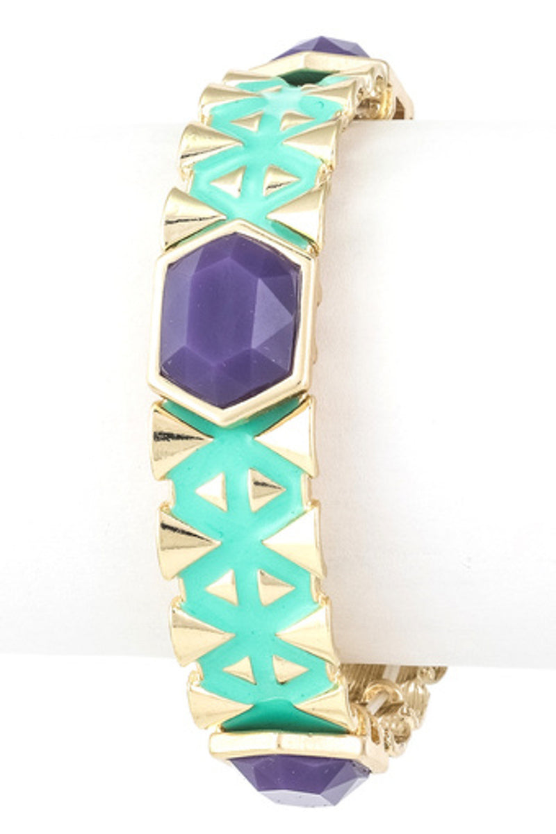 Enamel Stretch Bracelet-Blue/Mint