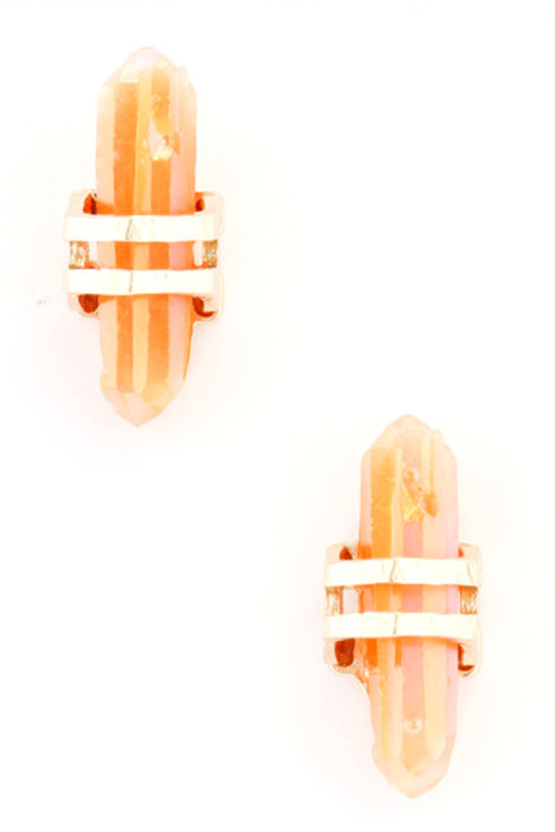 Faux Quartz Crystal Earrings-Gold/Orange