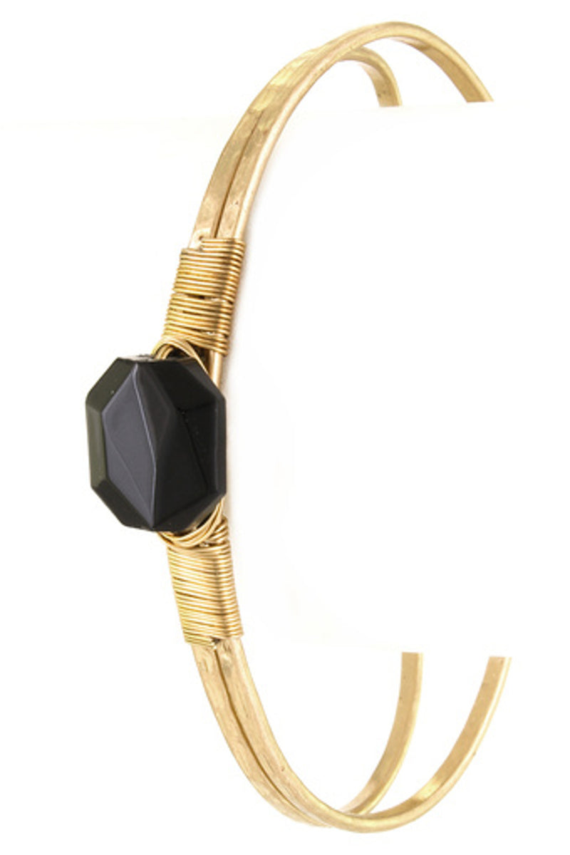 Wire Wrapped Stone Cuff Bracelet-Black