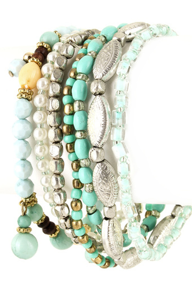 Acrylic Bead Stretch Bracelet Set-Mint