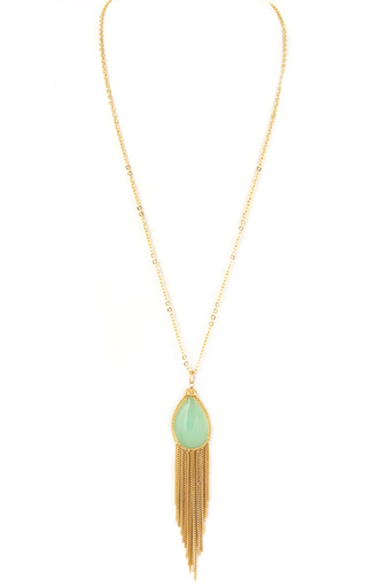 Semi Precious Stone Teardrop Tassel Necklace-Gold/Mint