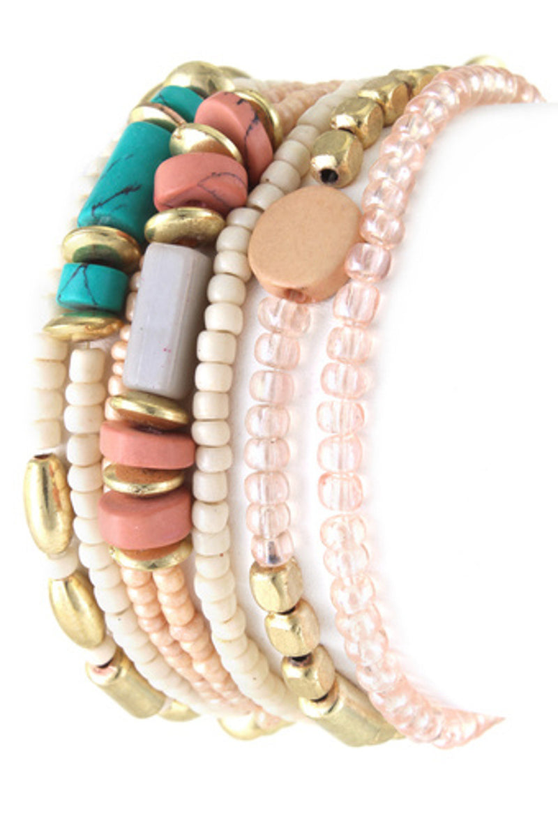 Stretchable Assorted Bead Bracelet Set-Peach