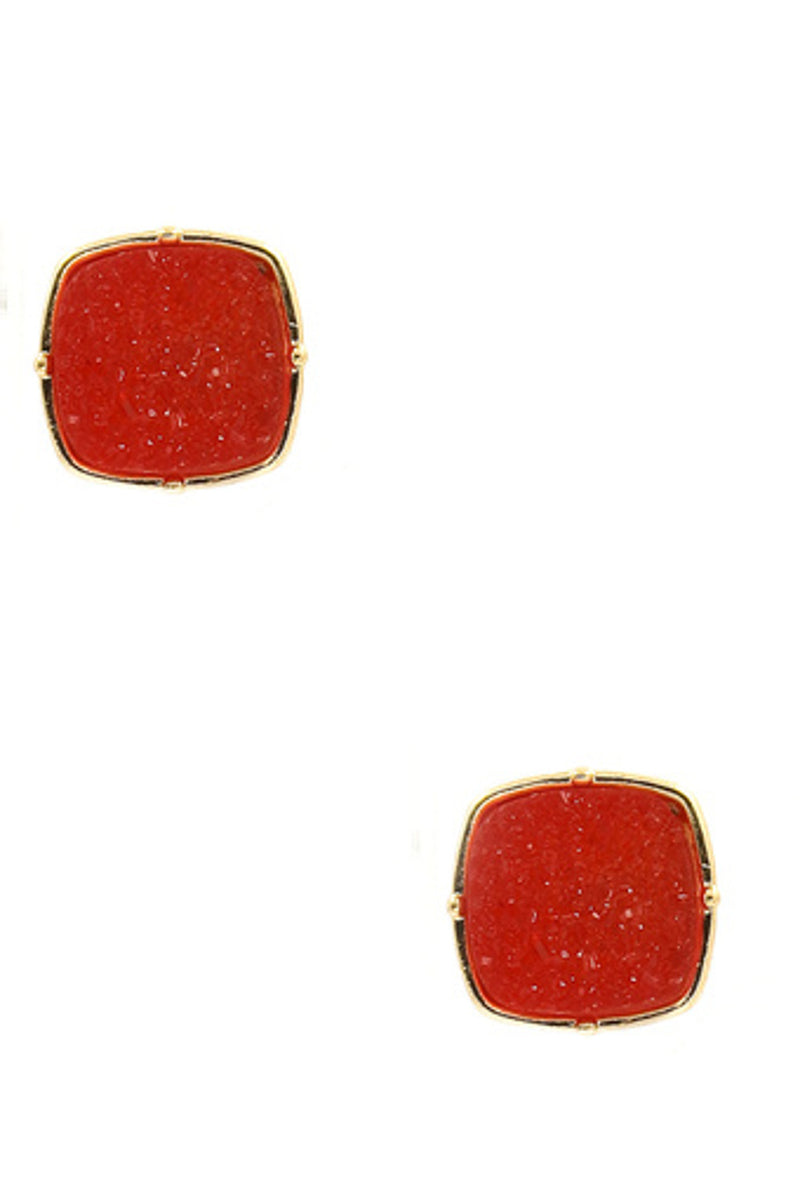 Druzy Stone Stud Earrings-Red