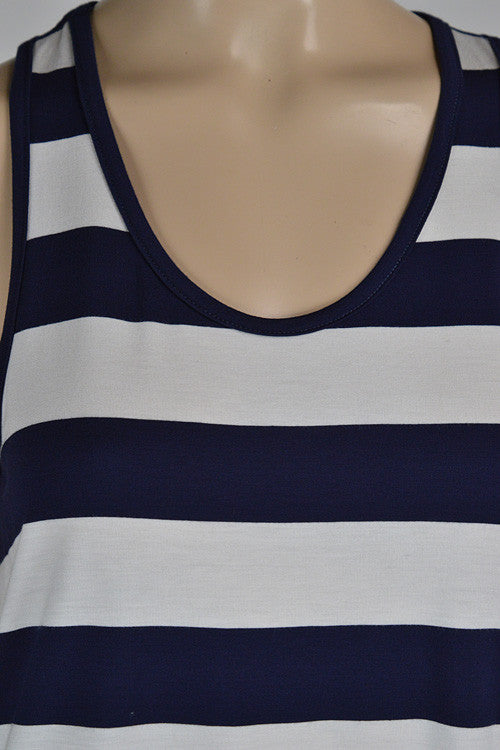 The Perfect Piko Tank Top-Navy/White