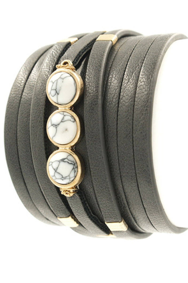 Detachable Faux Leather Band Bracelet-Worn Gold/Grey