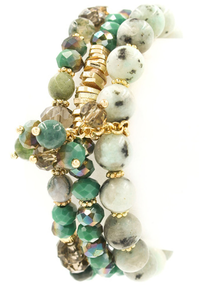 Layered Glass Stone Bead Stretch Bracelet-Green
