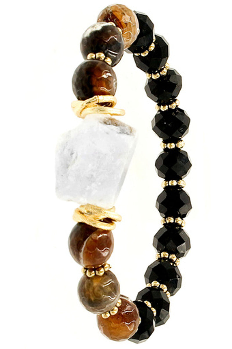 Quartz Stone Glass Bead Stretch Bracelet-Black