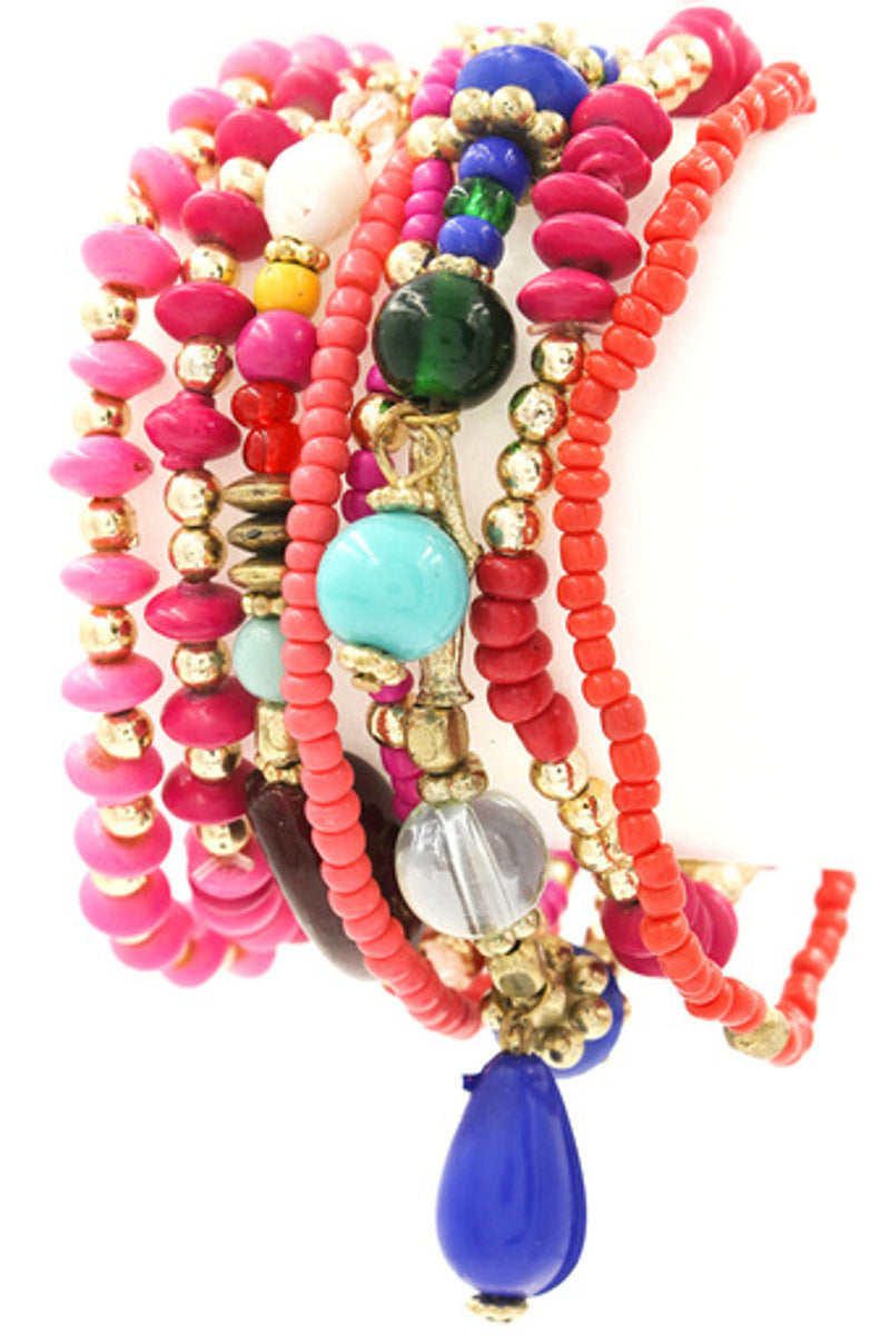 Multi Bead Layering Bracelet Set-Pink