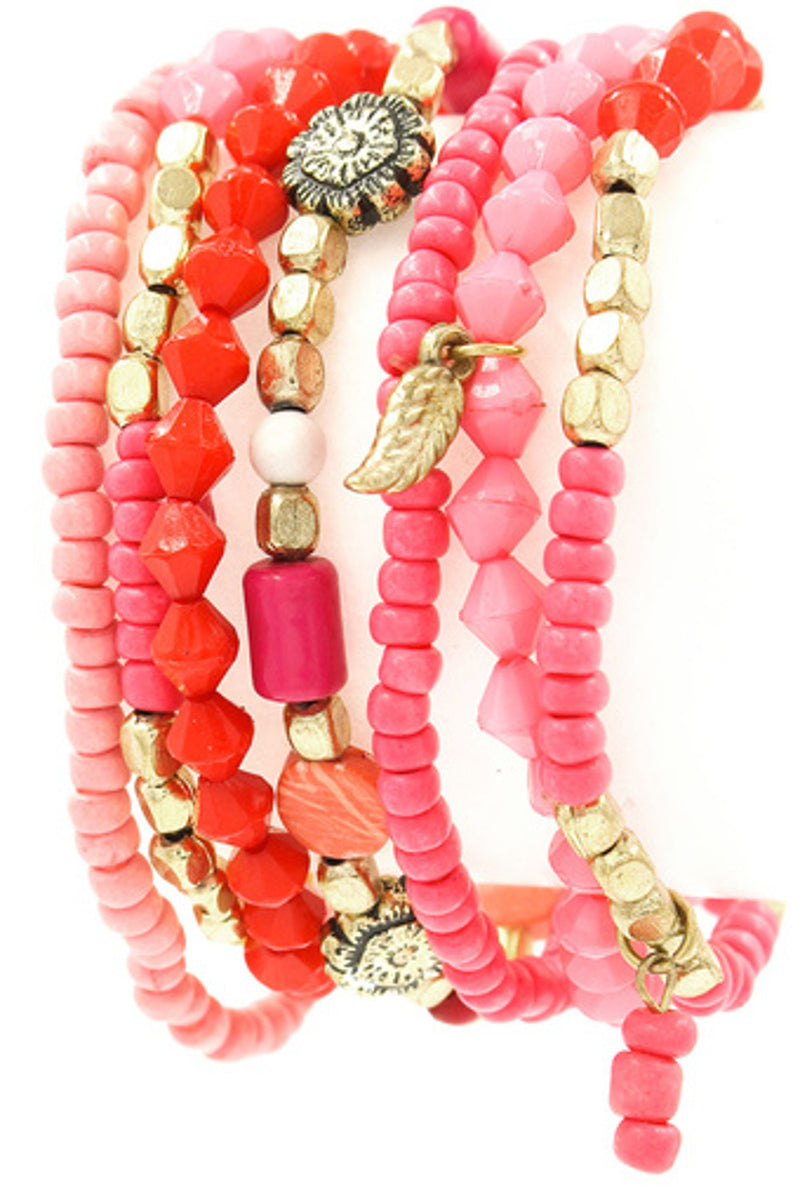 Multi Bead Layering Bracelet Set-Coral