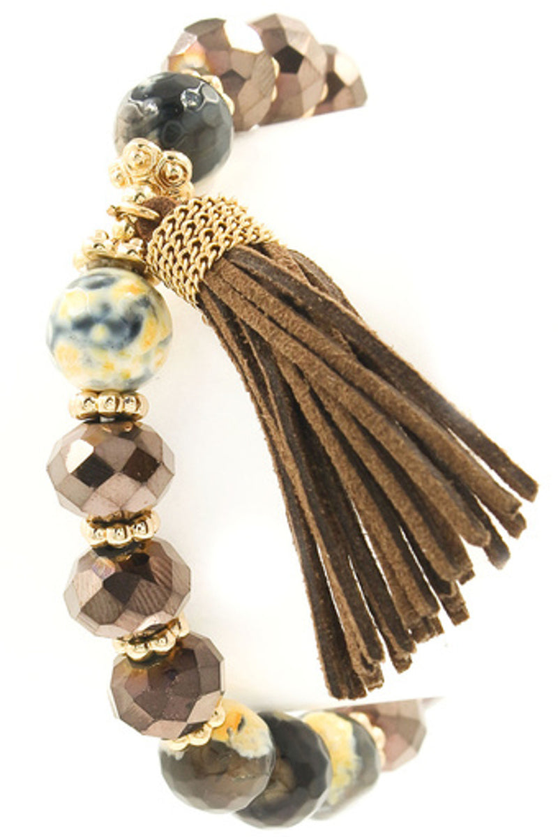 Stone/Glass Bead Tassel Bracelet-Brown