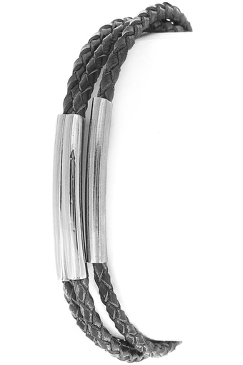 Layered Leather Multi Tube Bracelet-Black