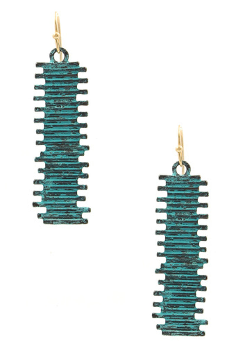 Textured Metal Drop Earrings-Patina Turquoise
