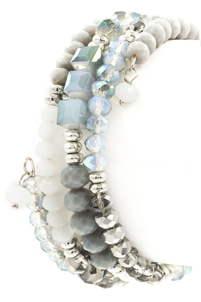 Faceted/Glass Bead Stretchable Bangle Bracelet-Grey