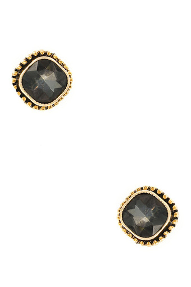 Metal/Glass Stone Post Earring-Antique Gold/Black