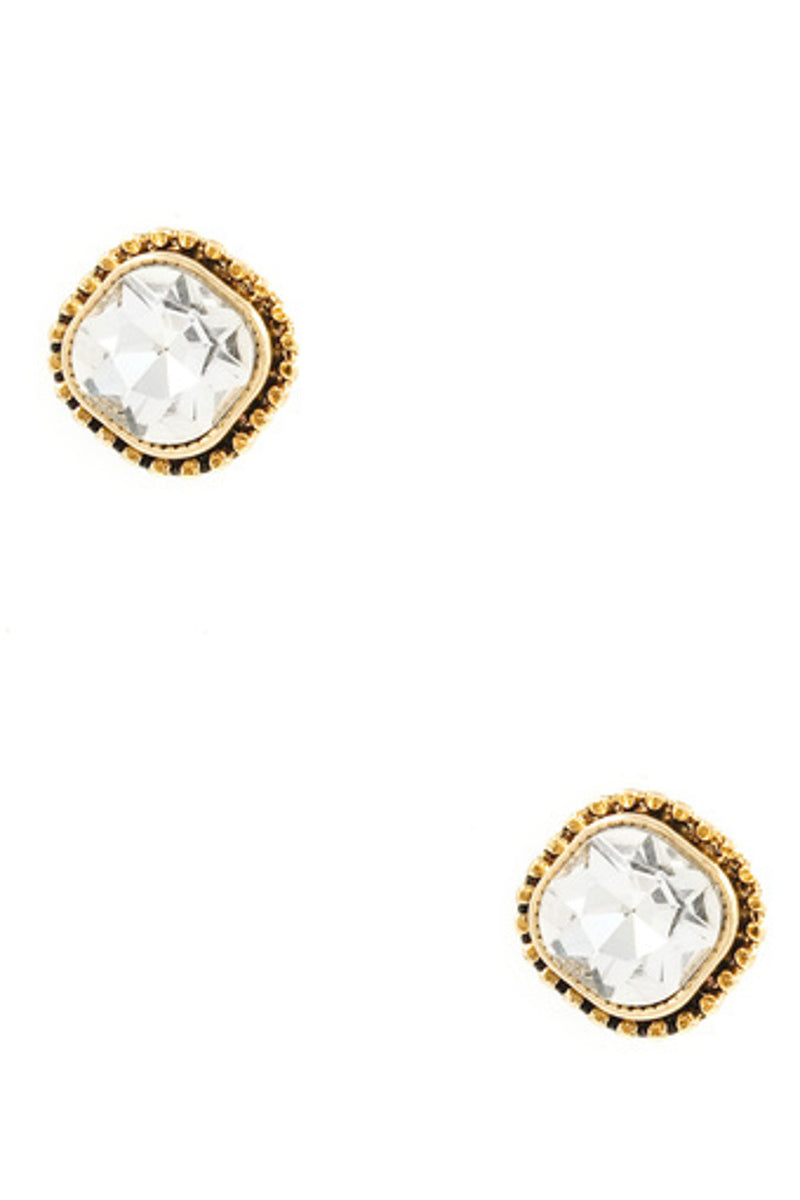 Metal/Glass Stone Post Earring-Antique Gold/Clear