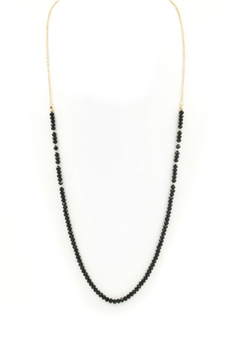 Faceted Bead Necklace-Black