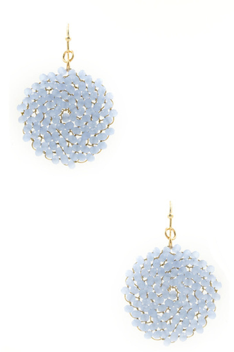 Glass Bead Cluster Earrings-Gold/Light Blue