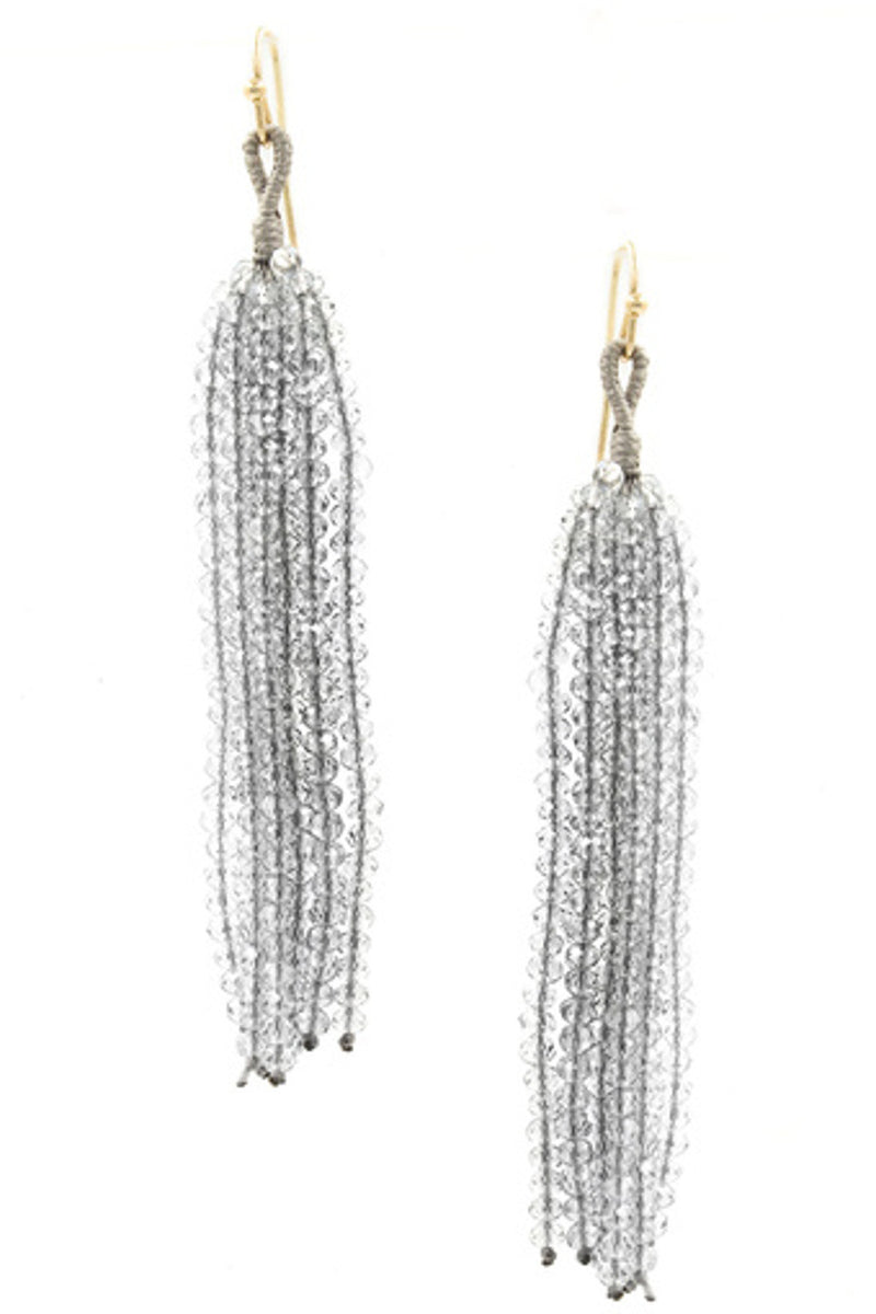 Seed Bead Earrings-Grey