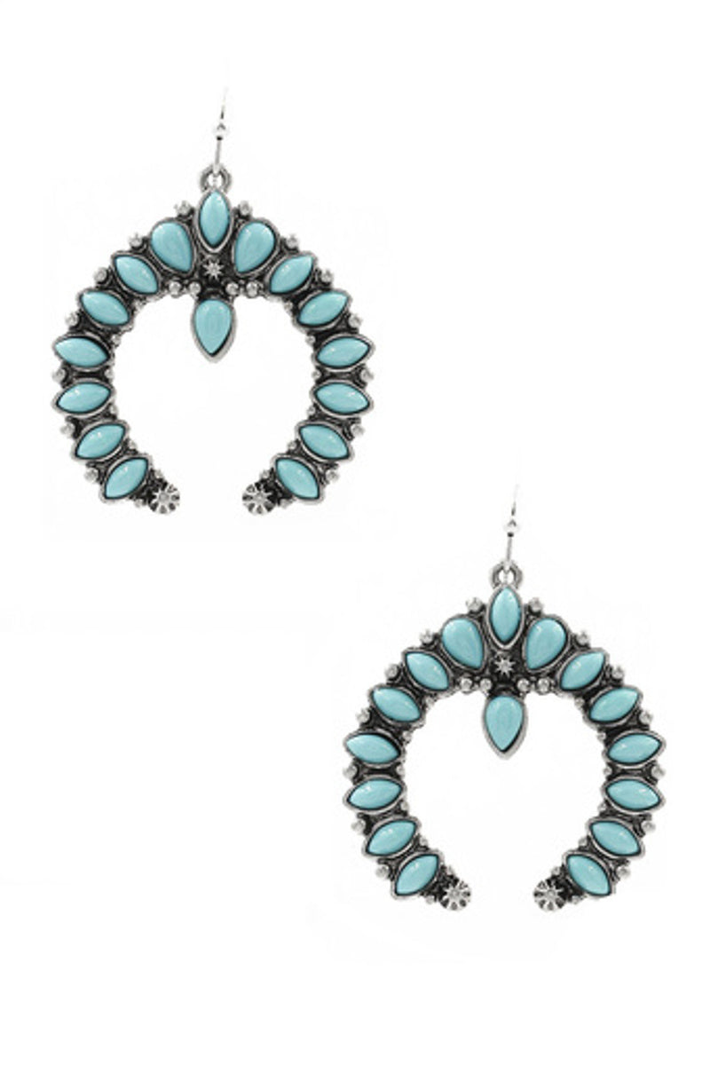 Metal/Acrylic Concho Drop Earrings-Silver/Turquoise