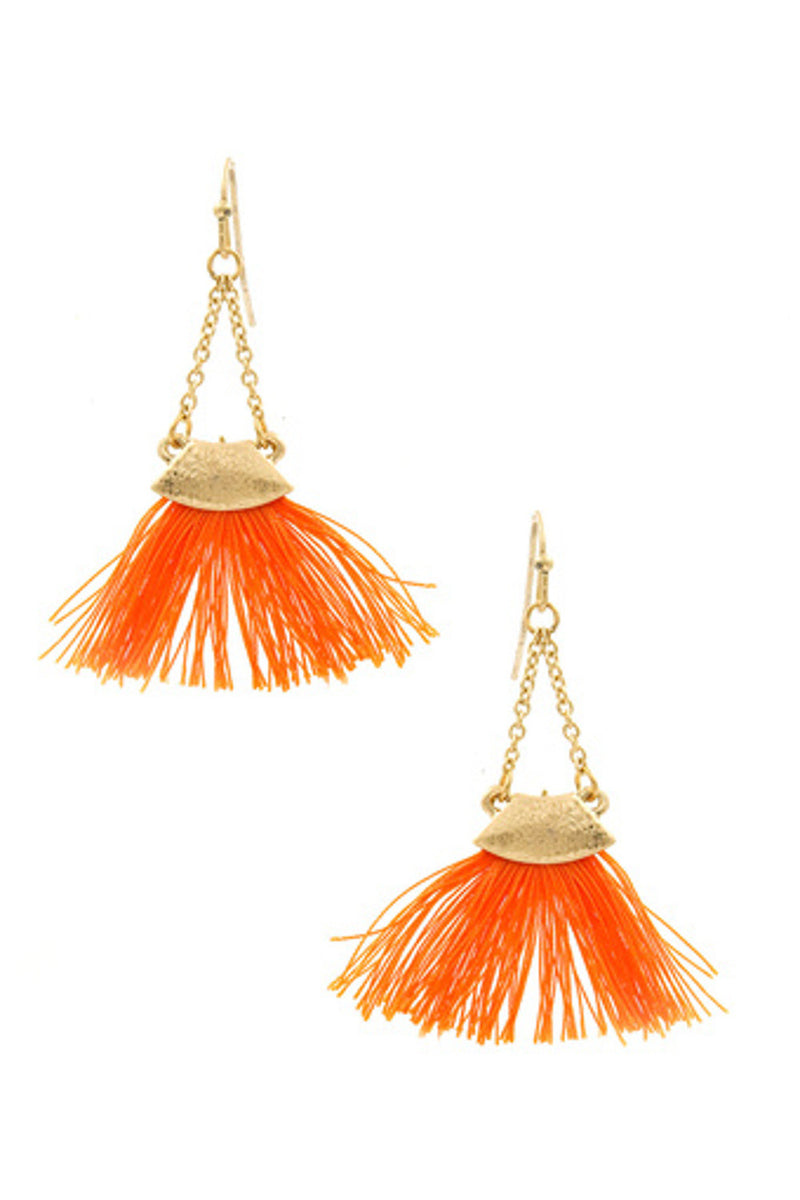Triangle Chain Cotton Fan Earrings-Orange