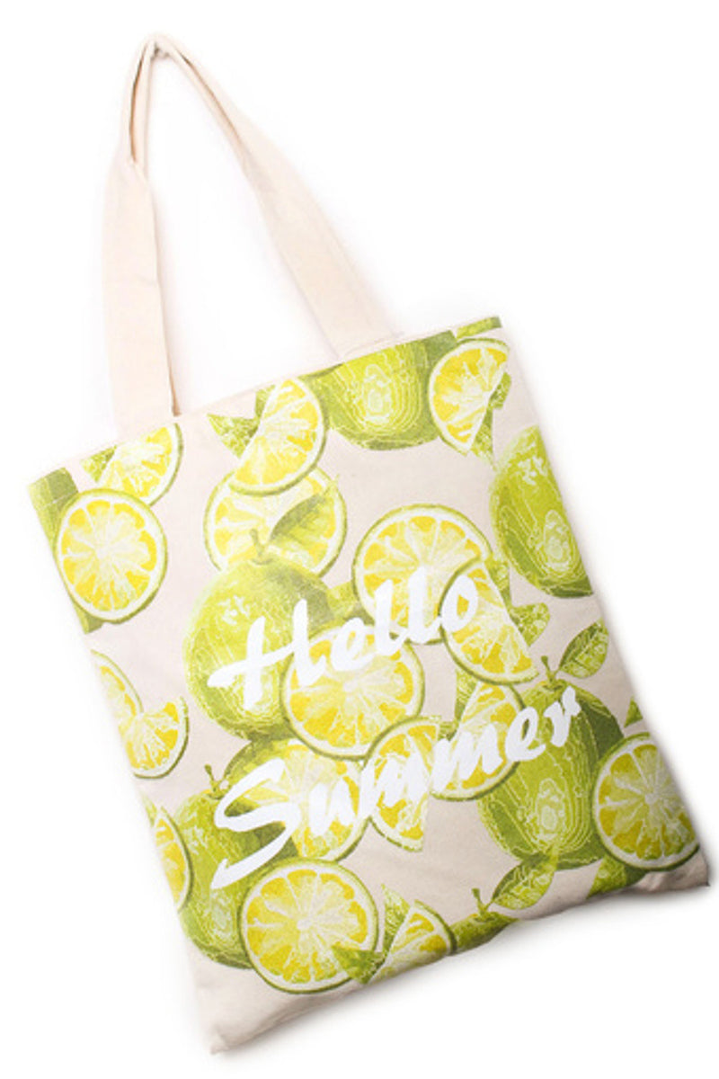 Lime Print Reusable Bag-Beige