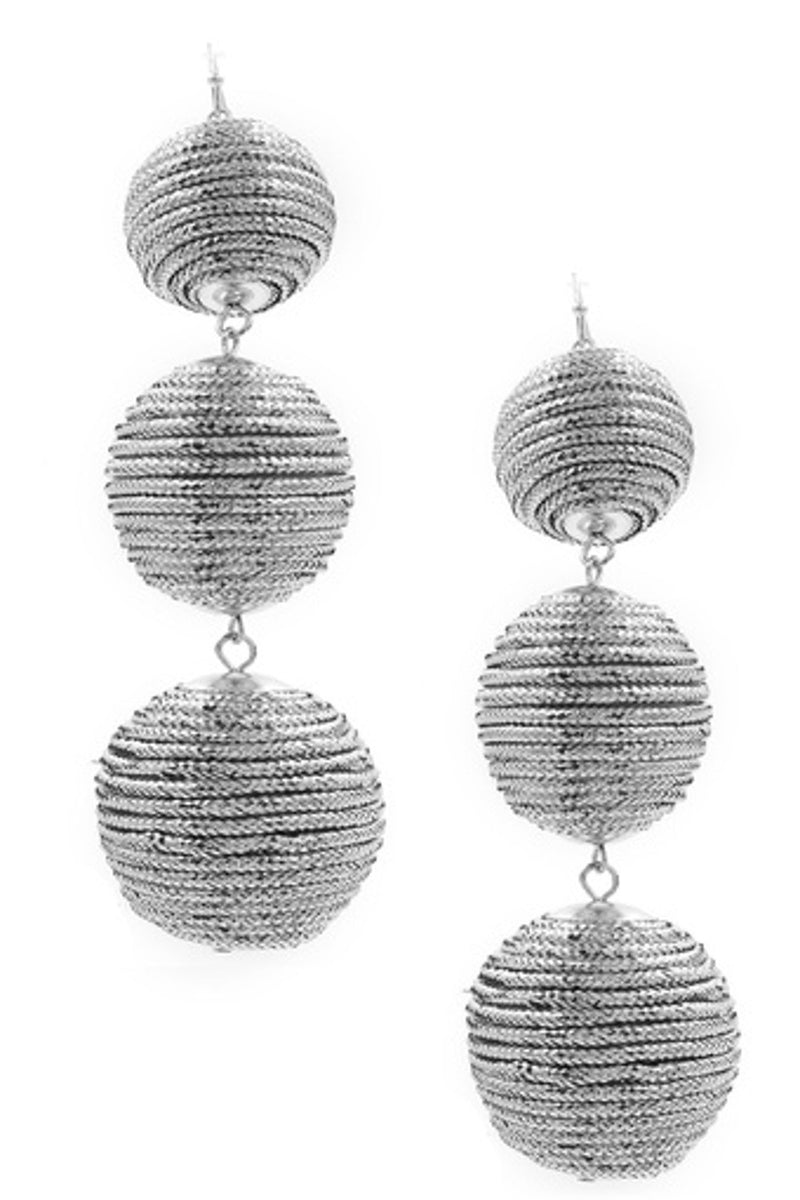 Stacked Wax Cord Ball Earrings-Silver