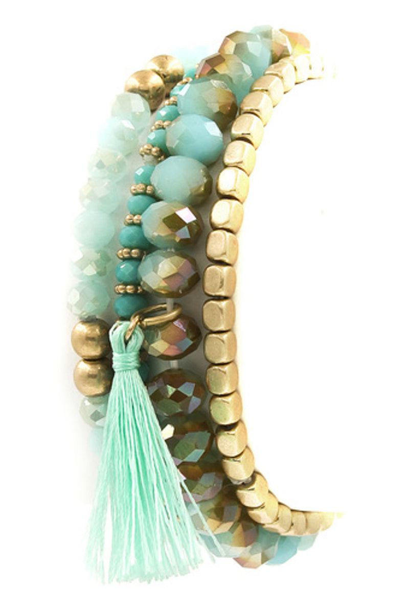 Faceted/Metal Bead Stretch Bracelet-Turquoise
