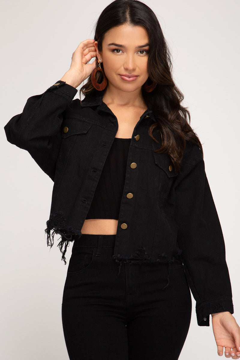 Around The Block Cropped Denim Jacket-Black
