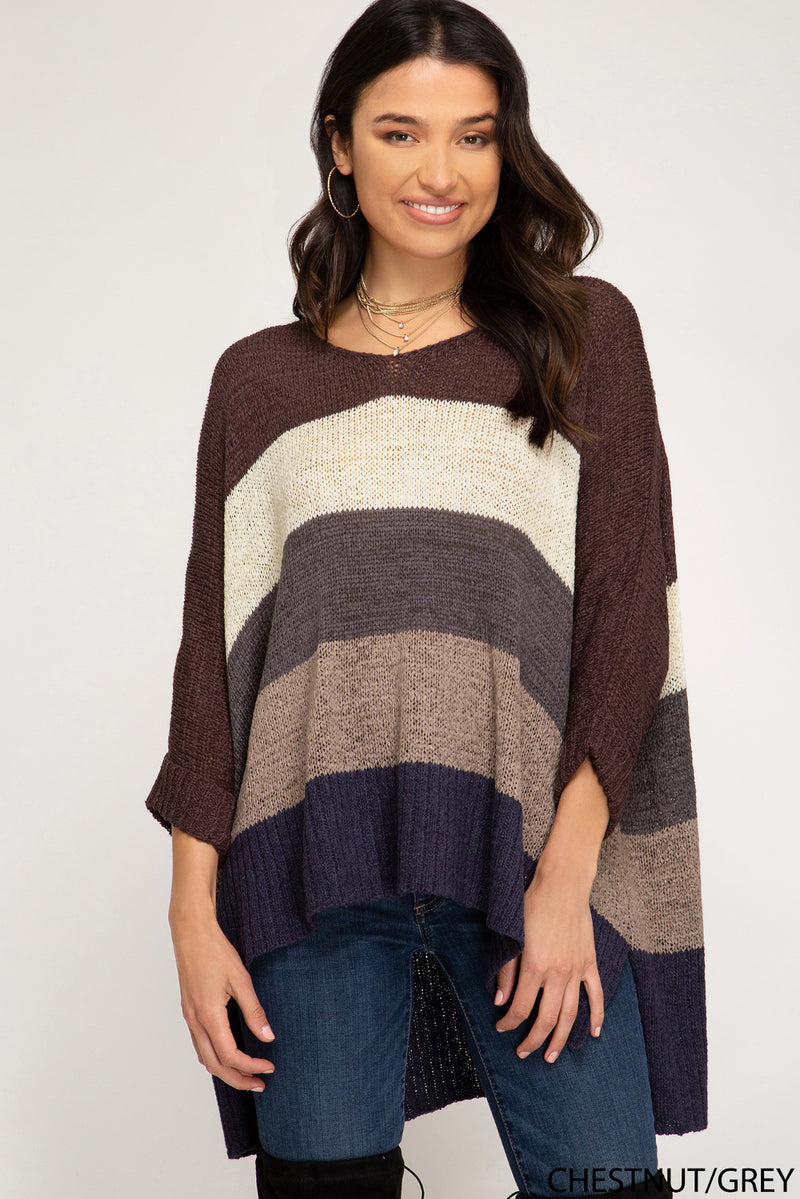 Along For The Ride Sweater-Chestnut/Multi