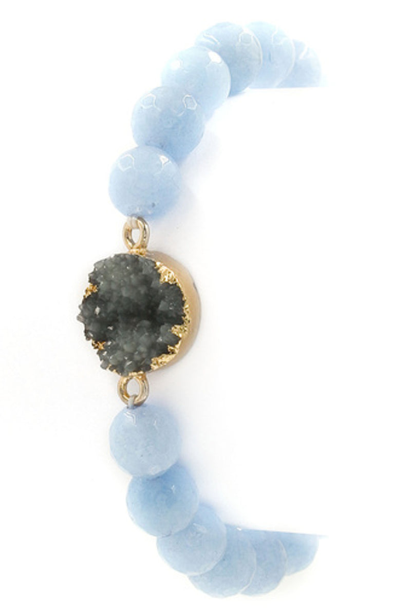 Druzy Stone Stretch Bracelet-Blue