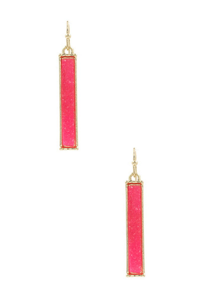 Druzy Stone Bar Earrings-Gold/Fuchsia