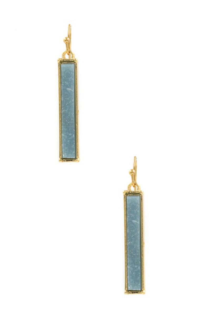 Druzy Stone Bar Earrings-Gold/Light Blue