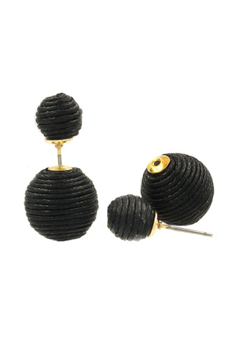 Reversible Corded Ball Earrings-Black