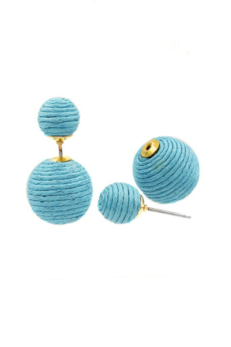 Reversible Corded Ball Earrings-Blue