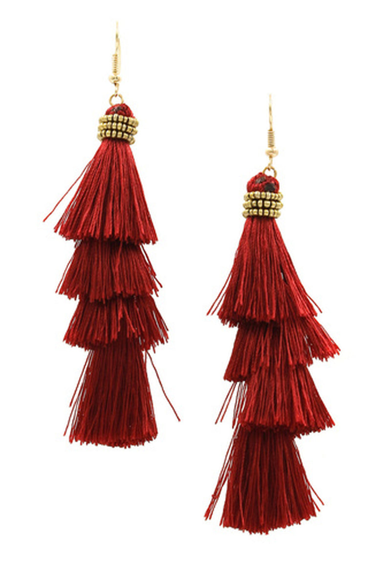 Cotton Tassel Drop Earrings-Gold/Burgundy