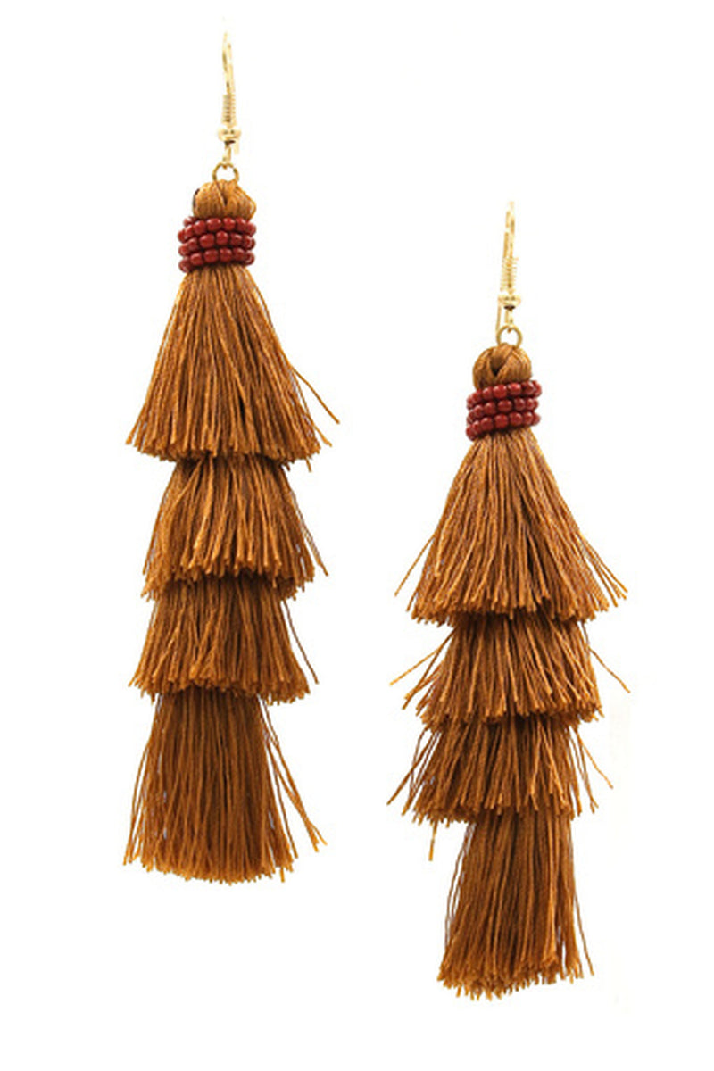 Cotton Tassel Drop Earrings-Gold/Brown