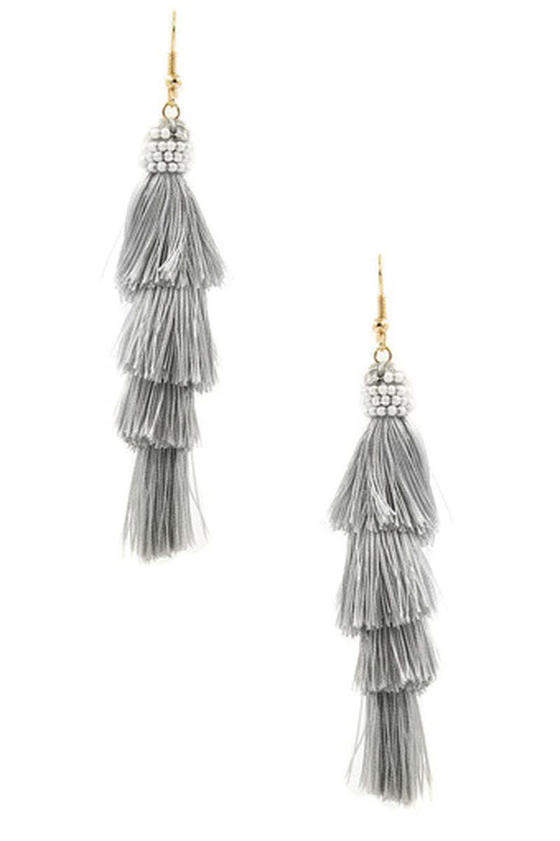 Cotton Tassel Drop Earrings-Gold/Light Grey