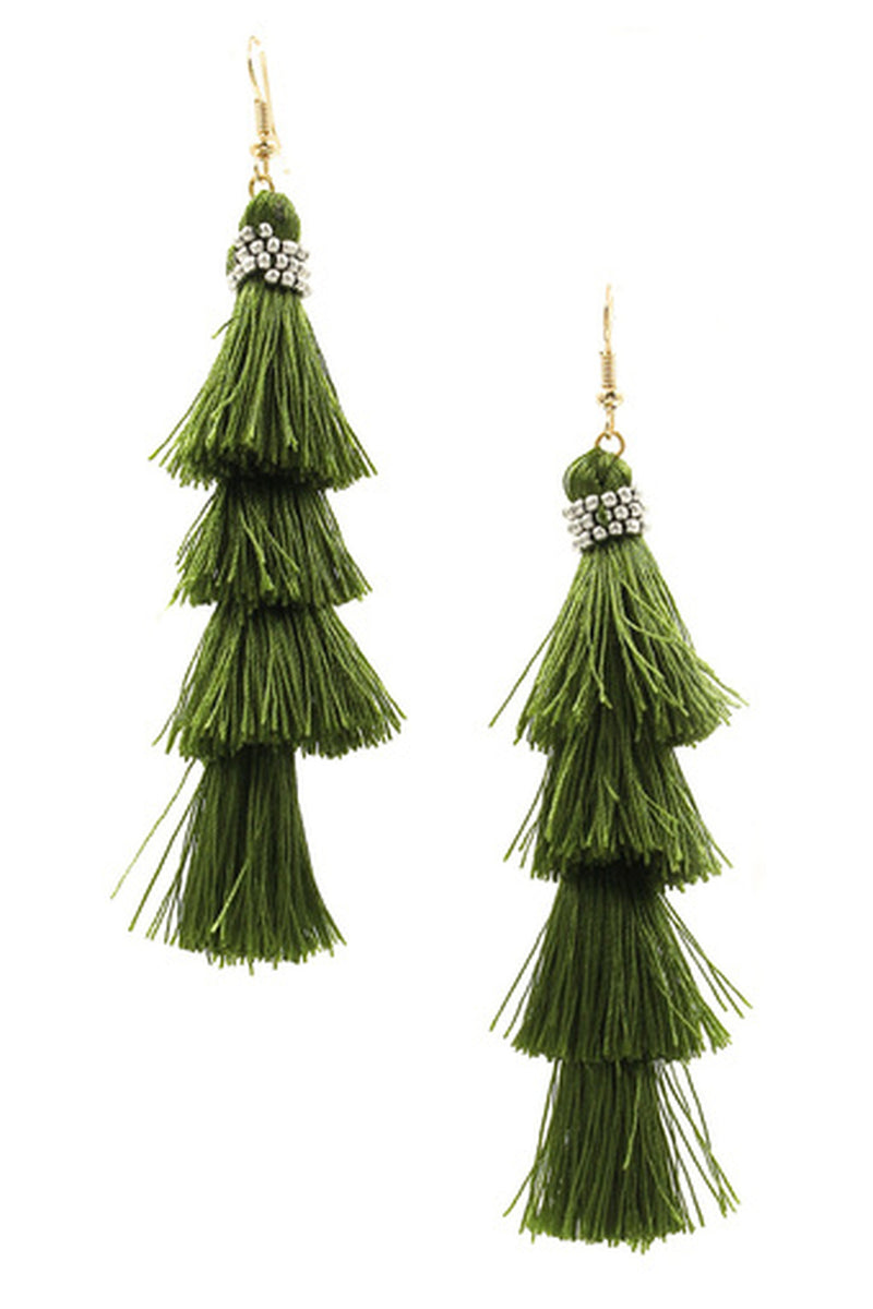 Cotton Tassel Drop Earrings-Gold/Green Olive