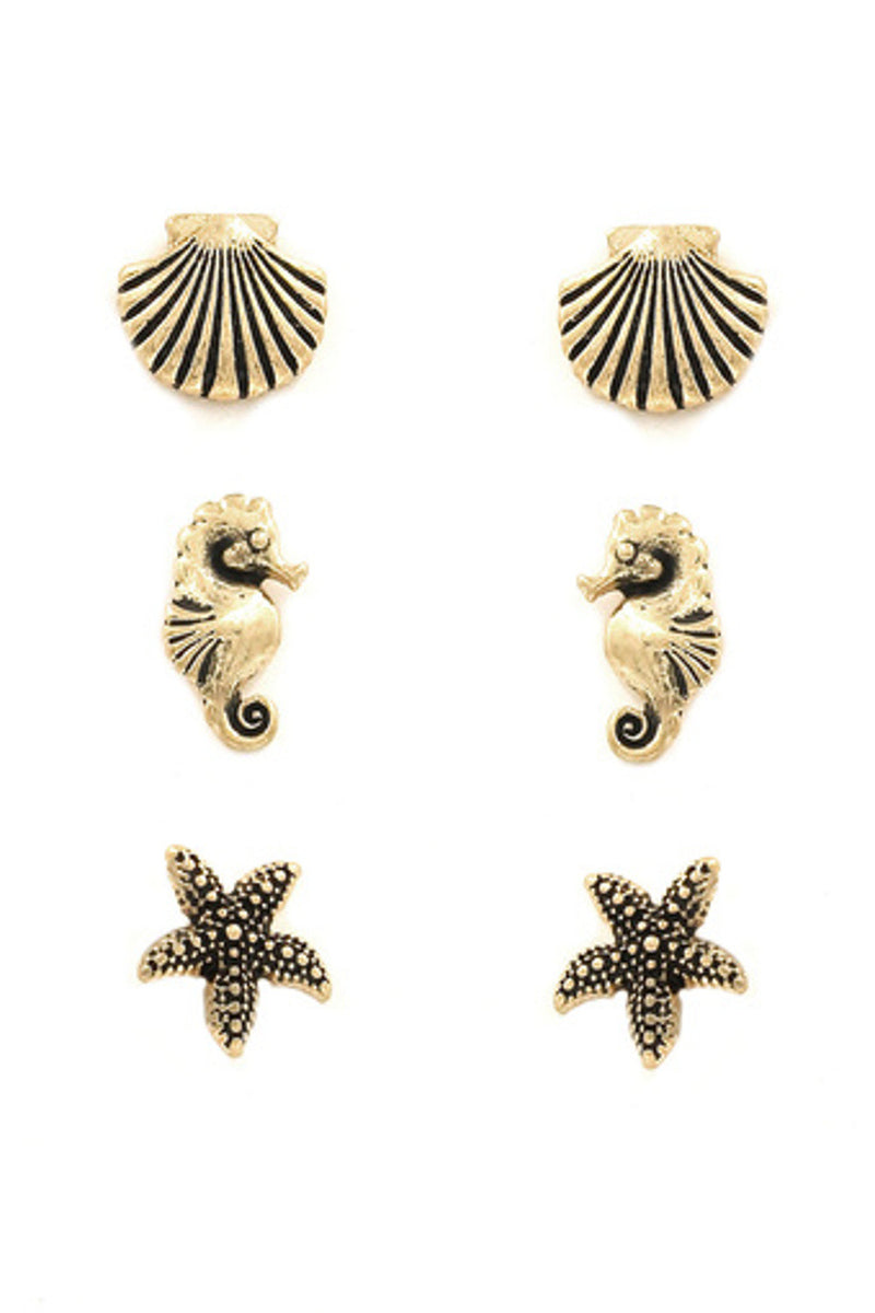 Seashell/Seahorse/Starfish Earring Set-Worn Gold