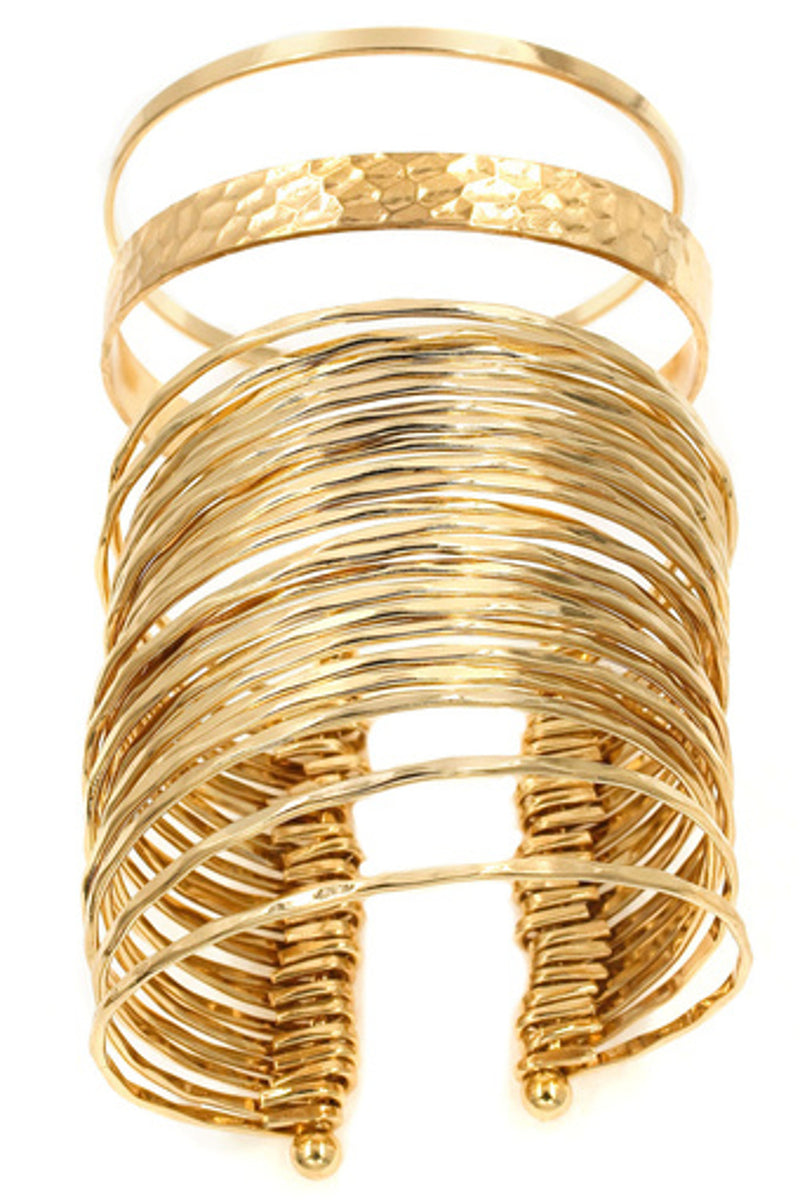 Metal Cuff Bracelet Set-Gold