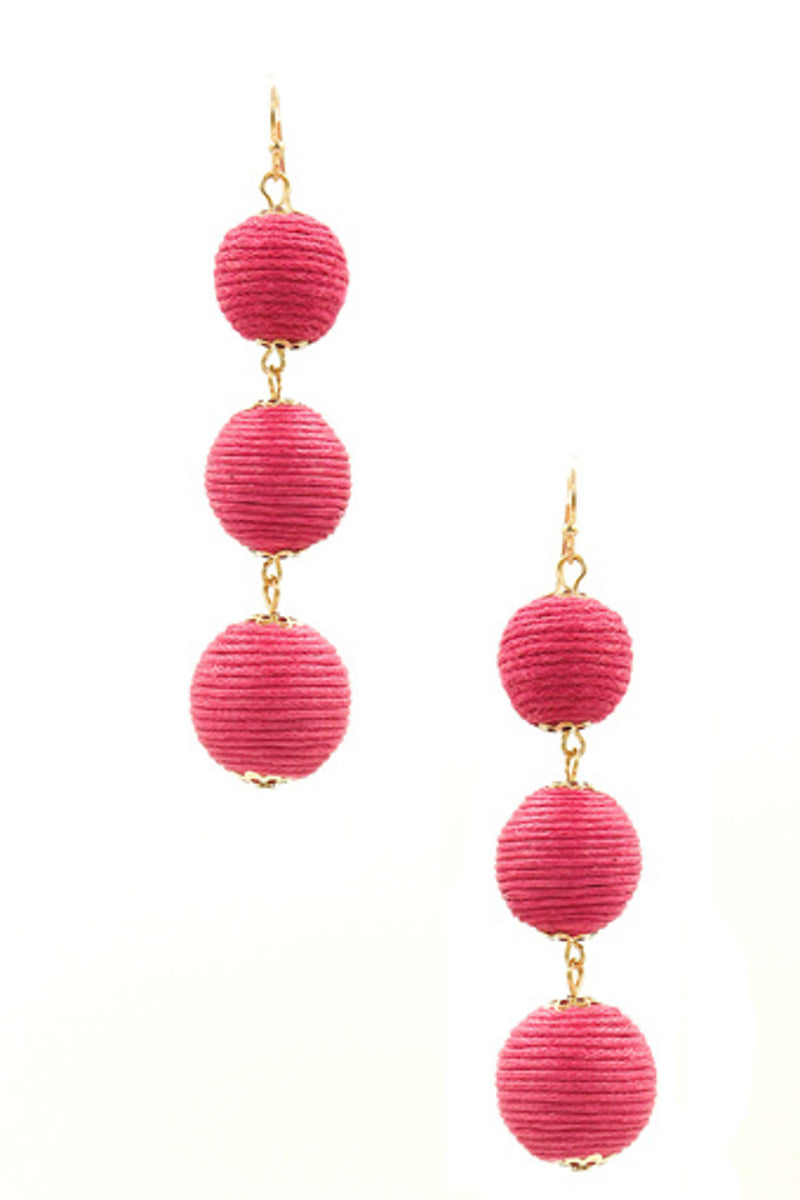 Triple Stack Corded Ball Earrings-Gold/Fuchsia