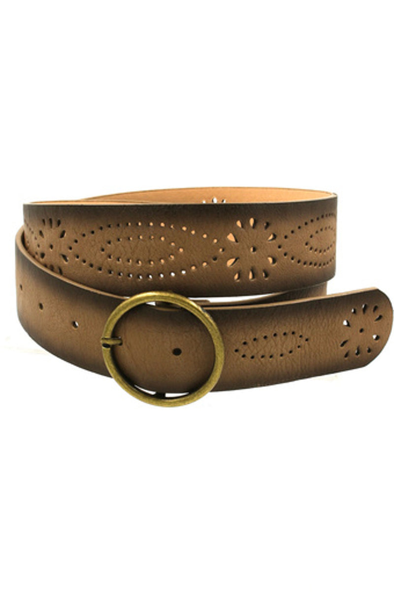 Faux Leather Floral Cut Belt-Taupe