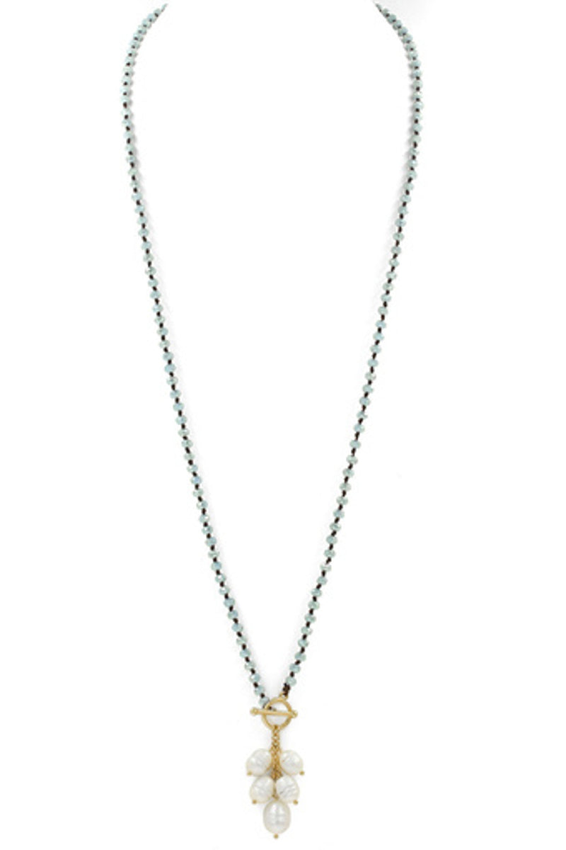 Faceted Bead Cream Pearl Charm Necklace-Gold/Grey