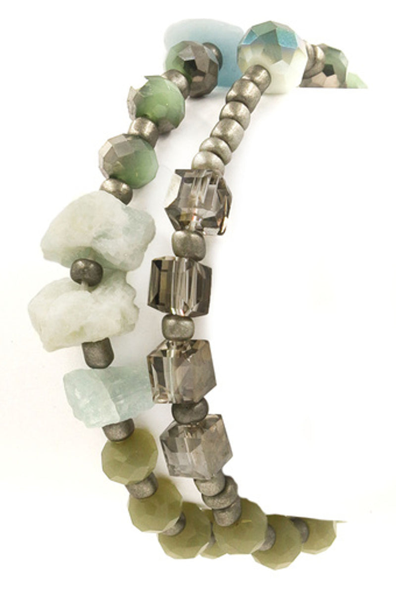 Chipped Stone Faceted Bead Bracelet-Mint