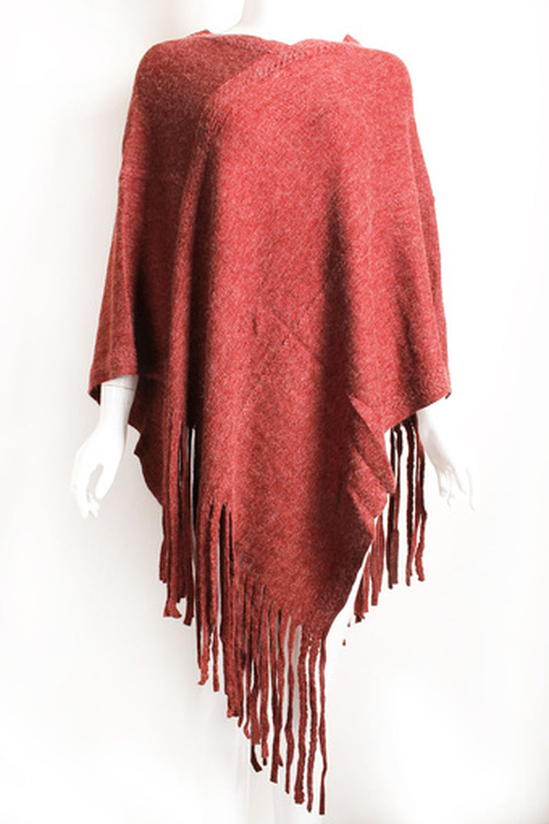Brushed Fringe Poncho