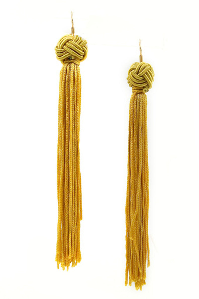 Cord Tassel Drop Earrings-Yellow