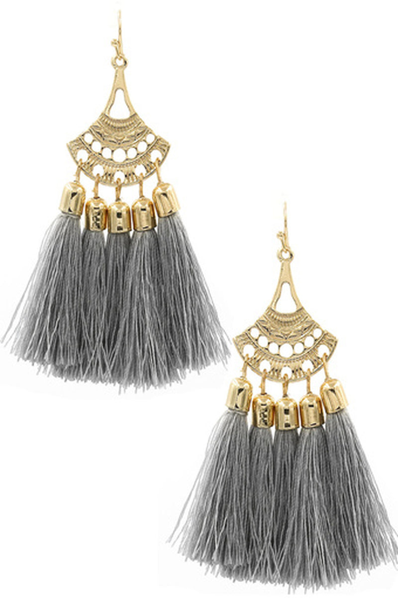 Cotton Tassel Drop Earrings-Gold/Grey